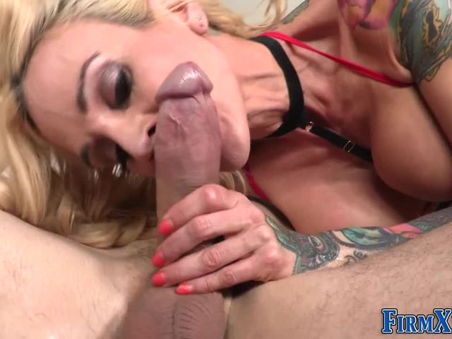 Horny small tit blonde has anal sex